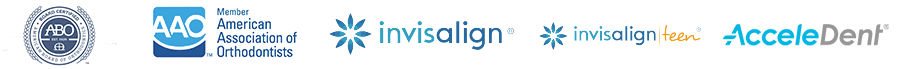 Invisalign, ABO, AAO, Invisalign Teen, and AcceleDent logos