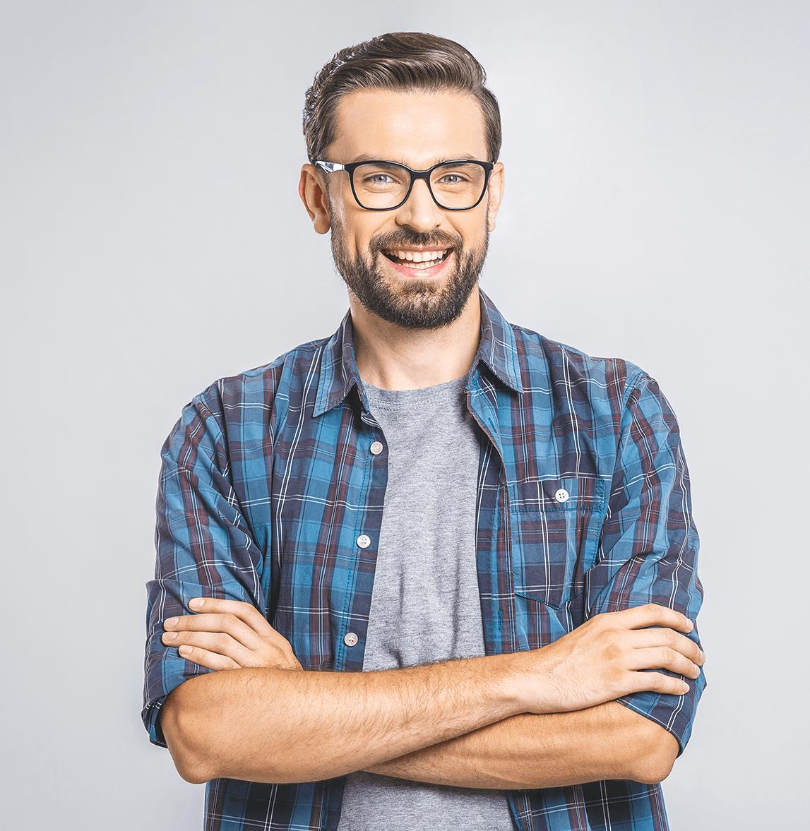 Adult orthodontic treatment patient smiling